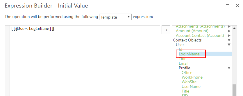 Current User Login Name from expression builder context